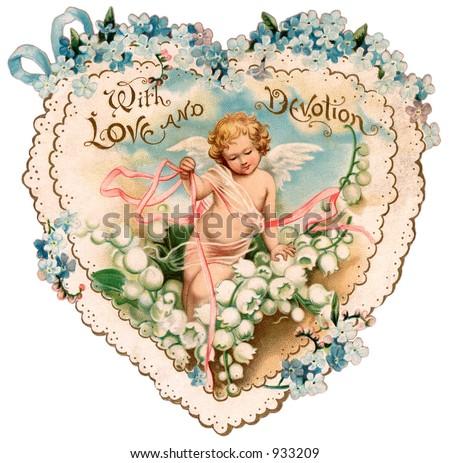 A vintage Valentine illustration of a cupid (circa 1890) - stock photo