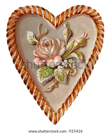 A vintage Valentine illustration of a sculptured heart and rose (circa 1890) - stock photo