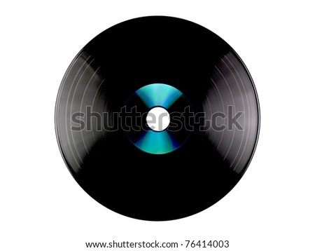 A vinyl record and a compact disc  isolated against a white background - stock photo