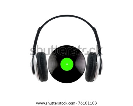 A vinyl record with headphones isolated against a white background - stock photo