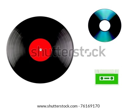 A vinyl records, compact disc and cassette isolated against a white background - stock photo