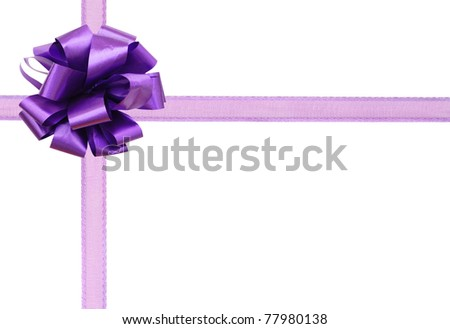 A violet bow gift background - stock photo