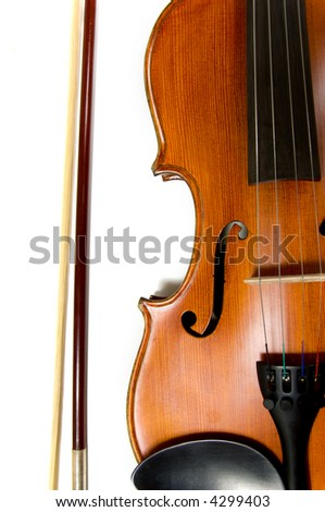 A violin or fiddle and bow on white background