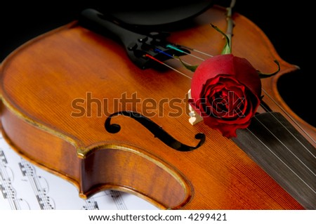 A violin or fiddle,  red rose and sheet music