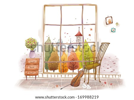 A violin resting on a chair by a window. - stock photo