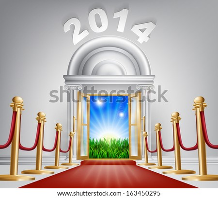 A VIP door opening to reveal a sunrise and beautiful green landscape. Perhaps a concept for hope for the future. - stock photo