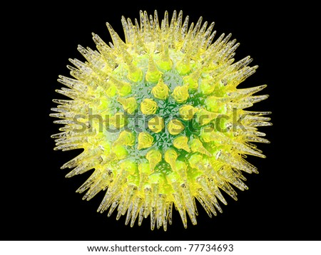 A Virus isolated on black. Medical visualisation. 3d rendered Illustration. - stock photo