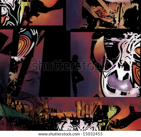 a vivid and colorful modern art collage of abstract shapes - stock photo