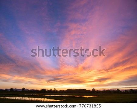 A vivid, colourful sunset over the ricefields of eastern Thailand