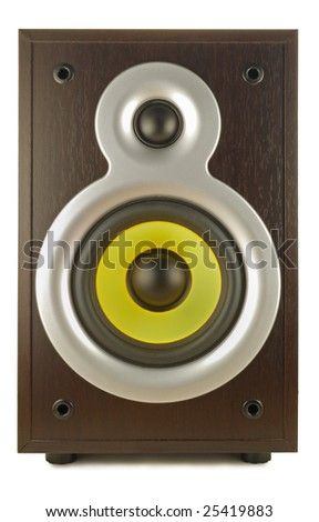 a voice column (loud speaker) is in a dark wooden corps - stock photo