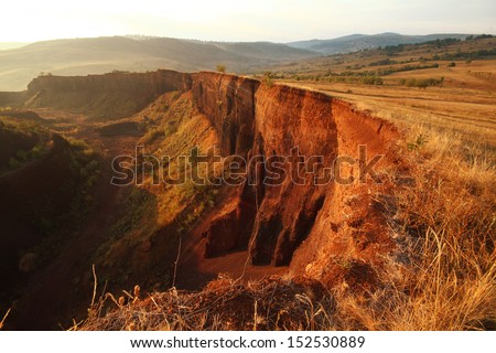A volcanic crater - stock photo