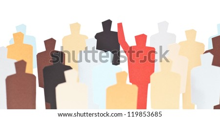 A volunteer with his arm raised up - stock photo