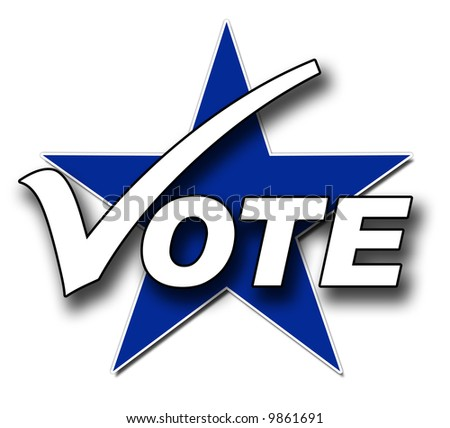 A Voting illustration in blue and white - stock photo