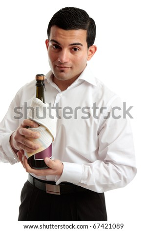 A waiter or a servant holds a bottle of wine or champagne.  White background. - stock photo