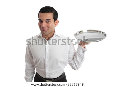 A waiter or bartender with an empty silver tray, ready for your product.  White background. - stock photo