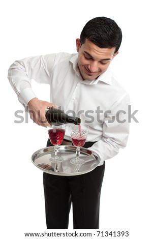 A waiter or butler pouring sparking red wine into glasses.  White background. - stock photo