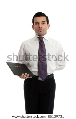A waiter or other professional stands with a menu (or other folder)  in one hand.   White background. - stock photo
