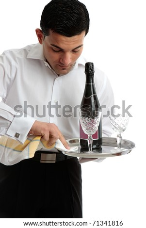 A waiter or servant at work.  White background. - stock photo