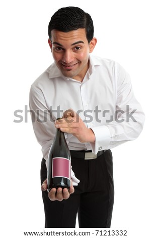 A waiter, servant or bartender presenting or recommending wine and smiling.  White background. - stock photo