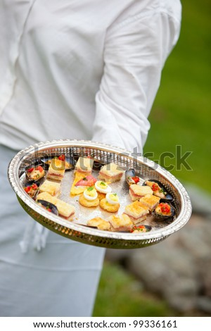 a waiter serving appetizers at a wedding or catered event - stock photo