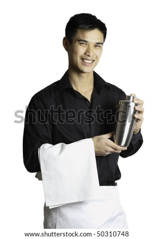 A waiter with a towel on his arm holding a drink mixer in his hands. Isolated on white