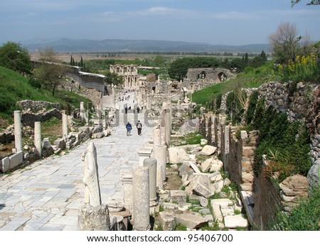 A Walk in Ephesus - stock photo