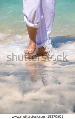 a walk through the waves - stock photo