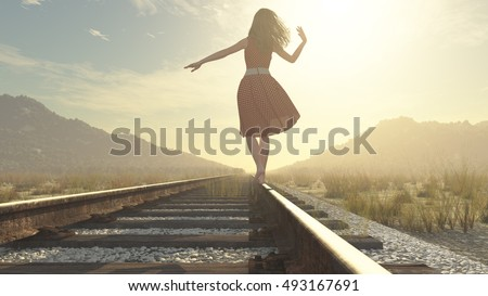 A walking girl on the railway under the blue sky - this is a 3d render illustration