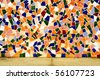 a wall made with an abstract pattern made with mosaic bits - stock photo
