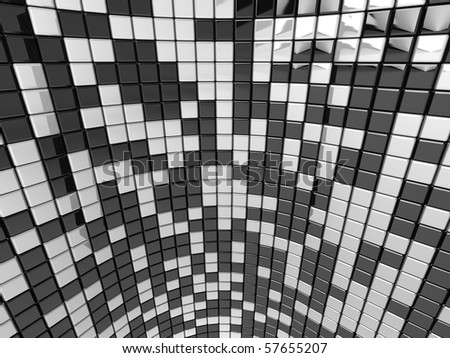 A wall of black and white mosaic in the shape of squares