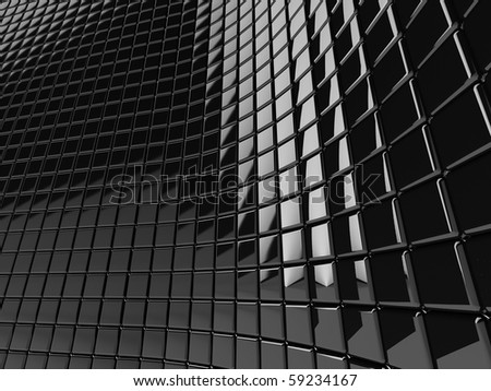 A wall of black mosaic in the shape of squares - stock photo