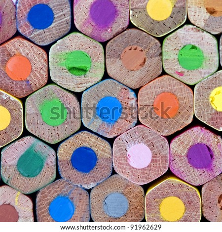 A wall of colorful pencils - stock photo