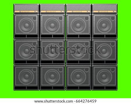 A wall of guitar amps on a light background. Isolated on green. 3D Render