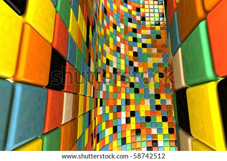 A wall of mosaic in the shape of squares