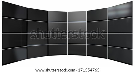 A wall of 24 stacked flat screen televisions mounted in an arc shape on an isolated white background - stock photo
