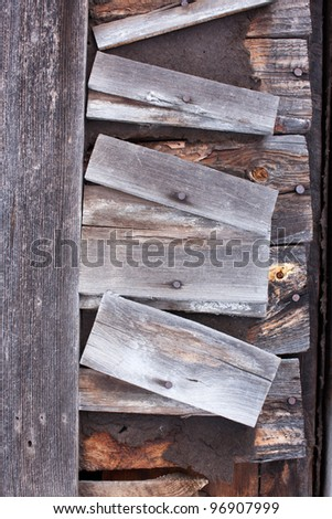 A wall on an old rotting building - stock photo