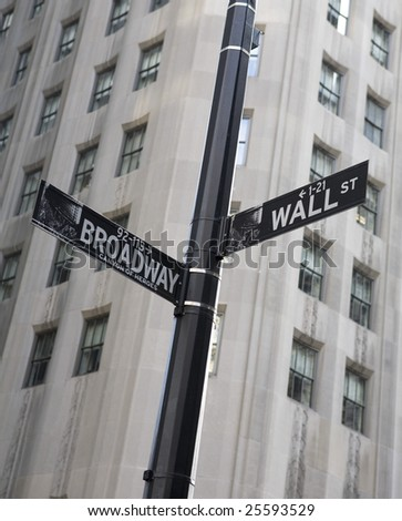 A Wall Street sign in the financial disctrict in New York City - stock photo
