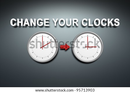A wall with the words change your clocks - stock photo
