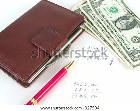 A wallet, some money and a pen