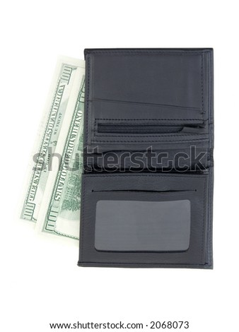 A wallet with 2 hundred dollar bills - stock photo