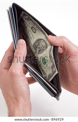 a wallet with only a rare $2 bill - stock photo