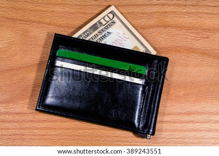 a wallet with the money