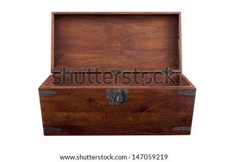A walnut chest open in frontal view