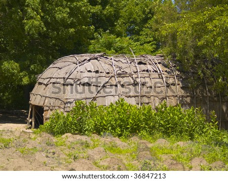 A Wampanoag Indian hut at Plimoth Plantation in Plymouth, MA.