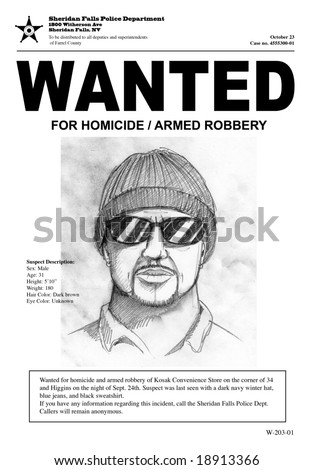 """A """"Wanted"""" poster with a police sketch. Town name and all other information is made up. The man in the drawing is also made up. - stock photo"""