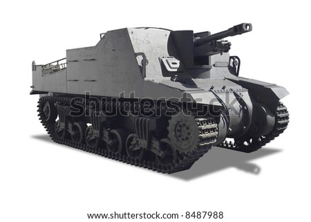 A war tank isolated in white background
