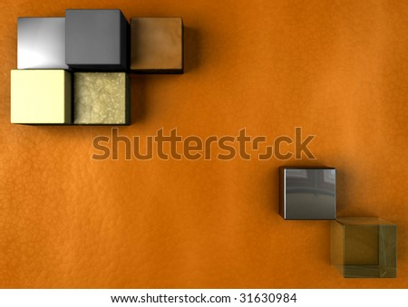 A warm design with cubes of various materials. - stock photo