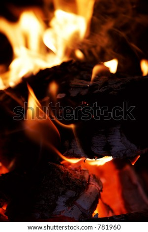 A warm fireplace with logs burning bright on a winter evening - shallow focus.