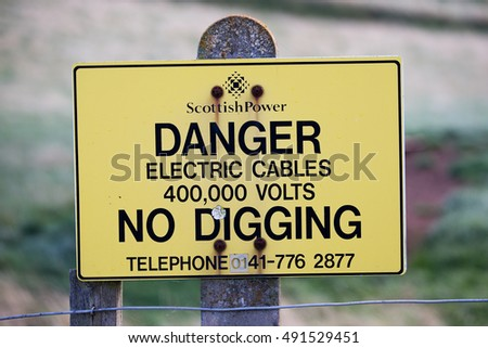 A warning sign for electric cables near Torness nuclear power station East Lothian, Scotland on 29 September, 2016.