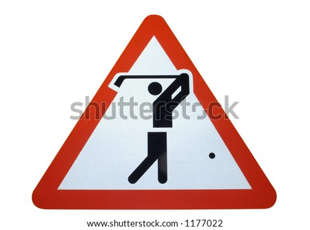A warning sign showing golfers (or a golf course) ahead. Isolated on white, and a clipping path included. - stock photo